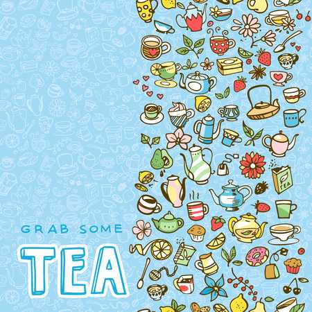 A doodle hand drawn tea icons, vector illustration Illustration