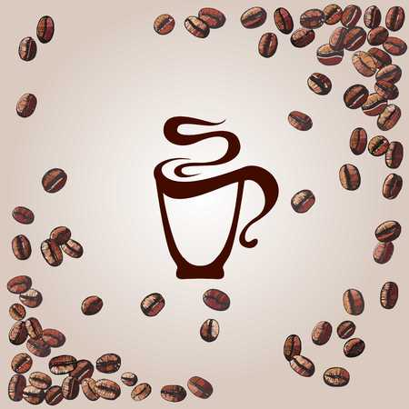 coffee background with coffee beans and cup, vector illustration