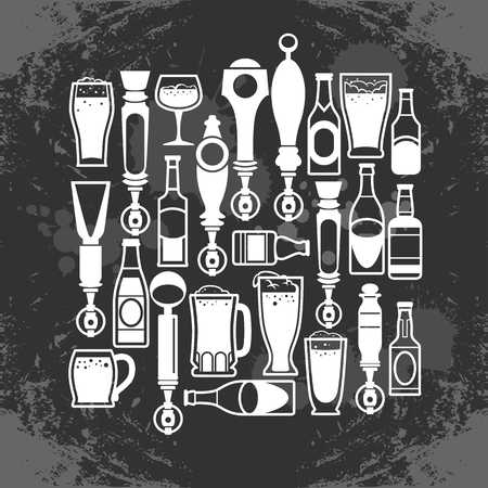 Bottle drinks and beer taps icon