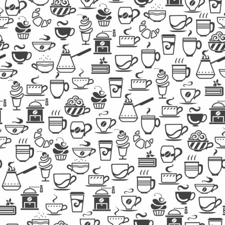 seamless background made of cup icons, vector