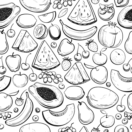 seamless background with different fruits and berries, vector