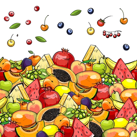 background with different fruits and berries, vector Illustration