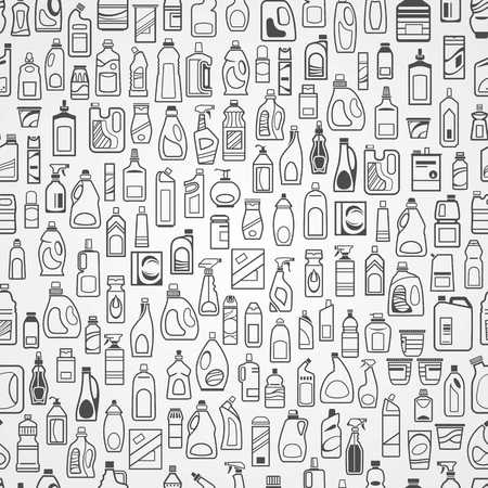 Household chemicals and cleaning supplies bottles, vector icons