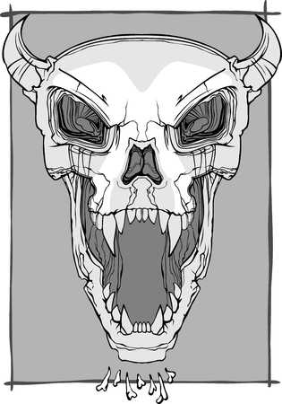 vector screaming skull face with horns and fangs