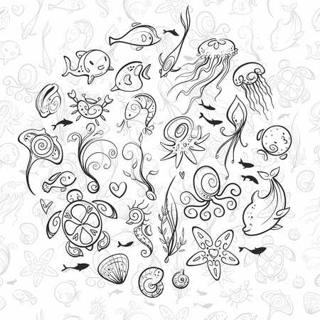 different sea and ocean creatures, vector illustration Illustration