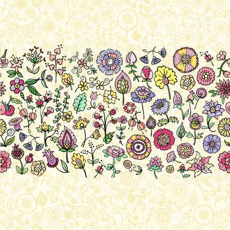 hand drawn floral seamless background, vector illustration Illustration