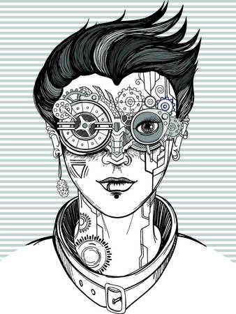 steampunk girl, monochrome vector illustration, t-shirt print or tattoo.
