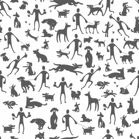 dogs silhouettes in different poses, vector background