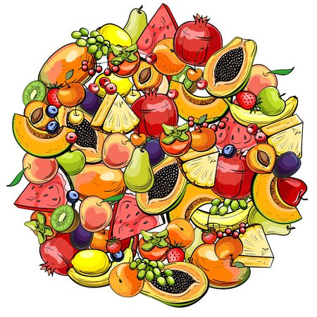 background with different fruits and berries, vector