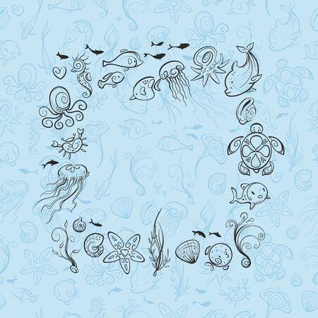 different sea and ocean creatures, vector illustration Çizim