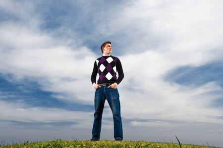 young man in the clouds Stock Photo - 7248828