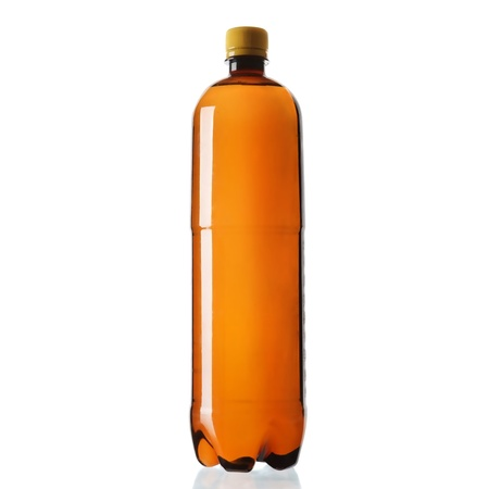 Brown plastic bottle isolated on white background photo