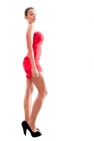 beauty woman in red dress in the white background photo