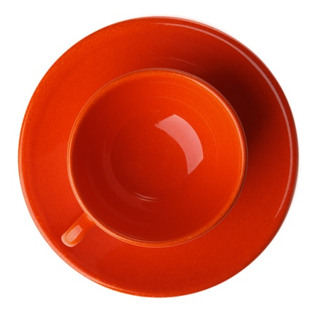 orange cup isolated on white background photo