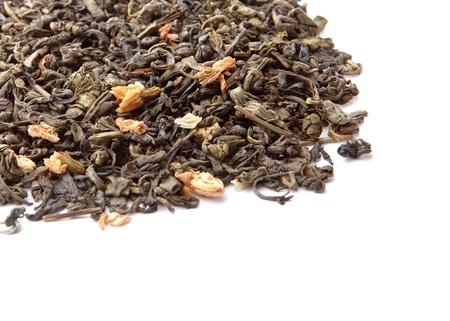 Closeup of chinese silver needle hair down white tea of premium luxury quality  Texture background macro photo