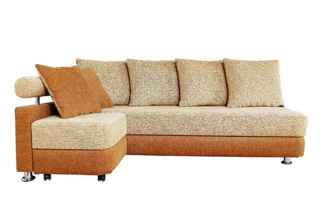 settee: brown sofa with fabric upholstery isolated on white background