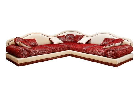 nice red sofa with pillows photo