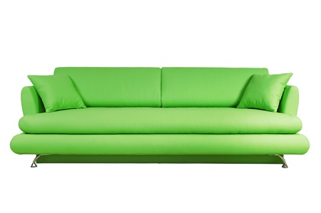 Green sofa isolated on white background photo