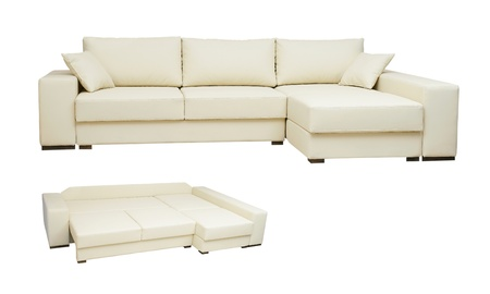 beautiful leather sofa beige color on a white background photo