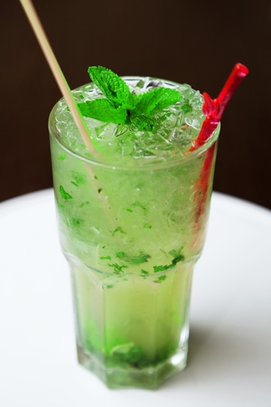 Fresh mojito cocktail on glass photo