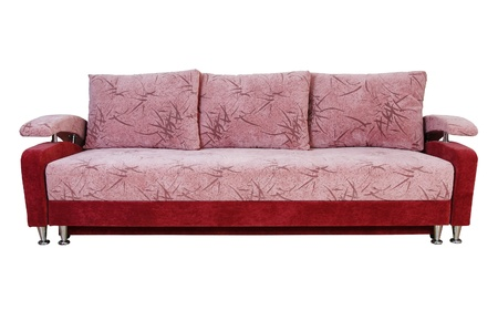 settee: purple sofa on white background