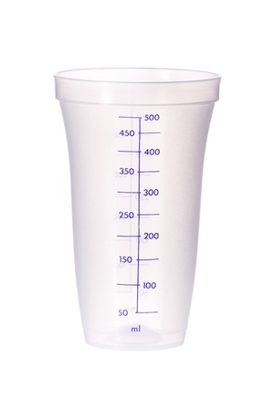 Plastic measuring cup; isolated  on white Standard-Bild