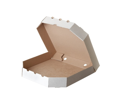 carton box for pizza on white background photo
