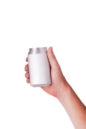 een hand plukken van een blikje op wit wordt geïsoleerd Stockfoto