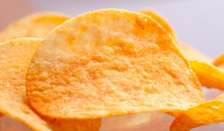 Potato chips close-up photo
