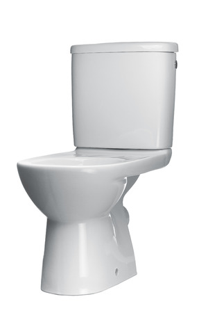 White toilet bowl isolated on a white background photo