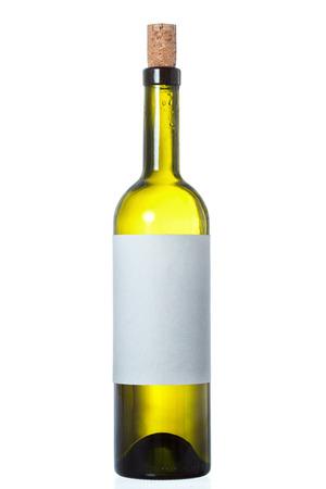 closed corks: bottle white wine isolated on white background