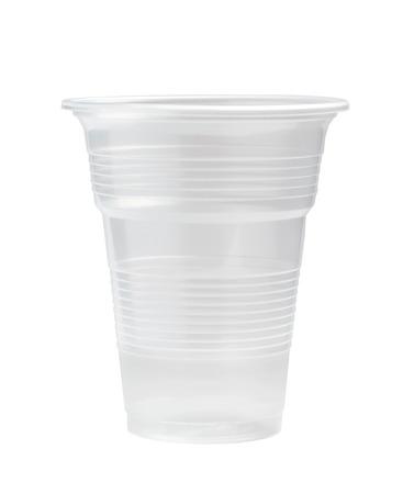 klare Plastikbecher auf weißem Hintergrund Standard-Bild