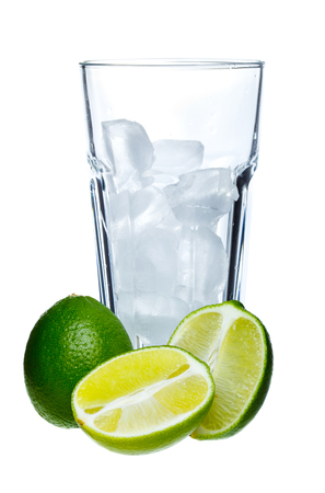 Mojito and limes in a glass on a white background photo