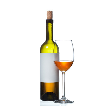 bottle and wine glass isolated on white background photo