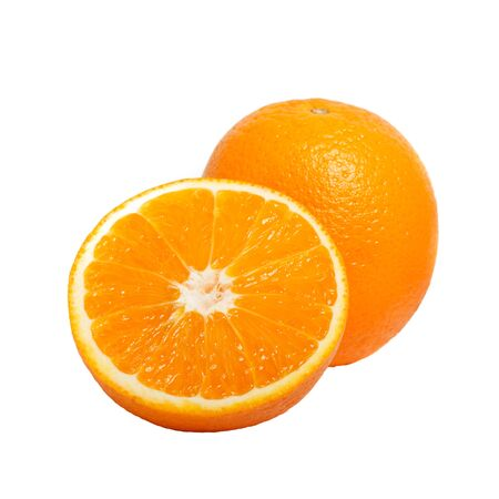 cantle: delicious fresh natural ripe cut oranges isolated on white background. Stock Photo