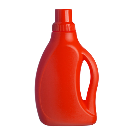 rinse: Red plastic bottle of shampoo, conditioner, hair rinse, gel, isolated on a white background Stock Photo