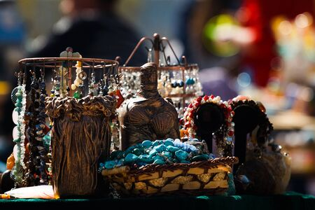 Beautiful jewelry on the street market showcase for sale. Stock Photo