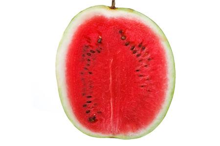 de verse sappige rijpe watermeloen op een witte achtergrond Stockfoto