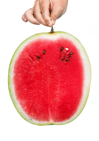 the fresh juicy ripe watermelon isolated on white background