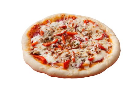 the Italian pizza with cheese and salami Stock Photo