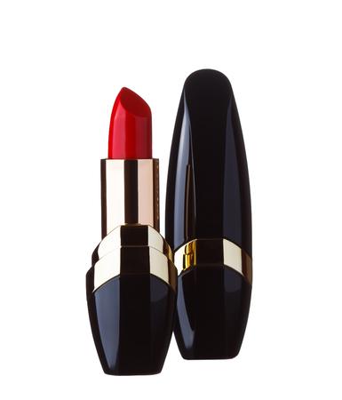 Een rode lippenstift geïsoleerd op een witte achtergrond Stockfoto