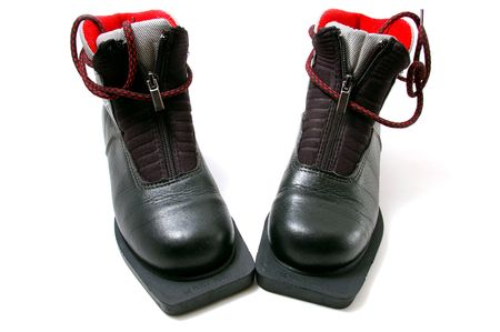 Pair winter boot for skis photo