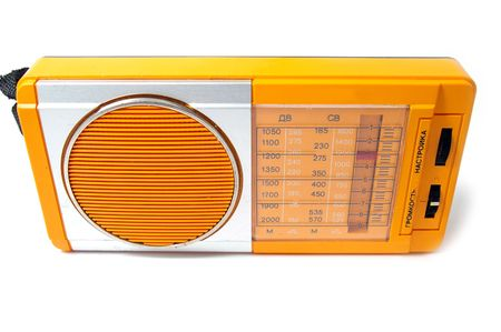 Radio to outdated design on white background. photo