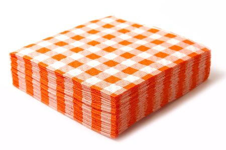 Stack of the paper napkins on white background.
