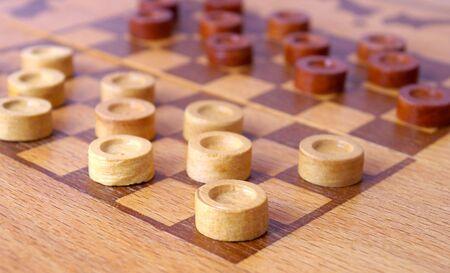 foreshortening: Game checkers from tree. Angular foreshortening