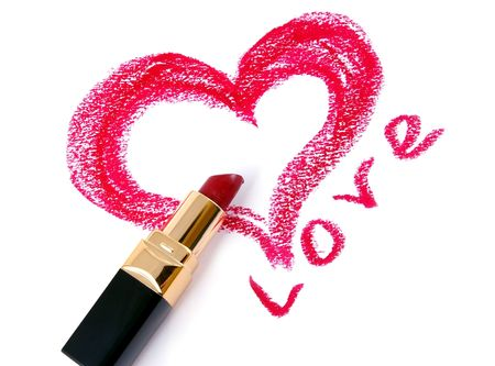 Drawn heart and lipstick.Love. photo