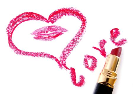 Drawn heart and lipstick.Love.