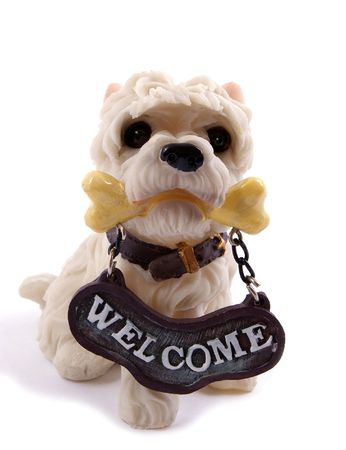 Souvenir - a dog with tablet welcome Stock Photo