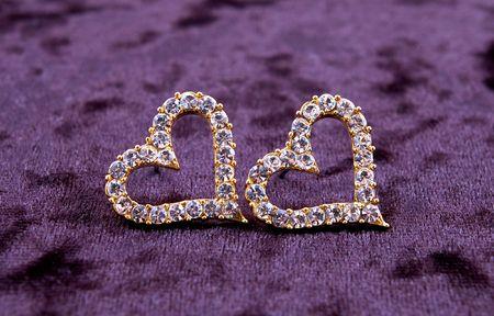 Earrings-heart on velvet Stock Photo - 4548564