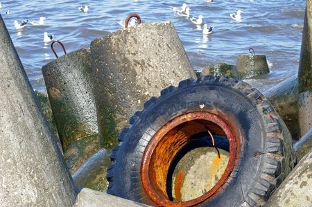 Old wheel on seashores